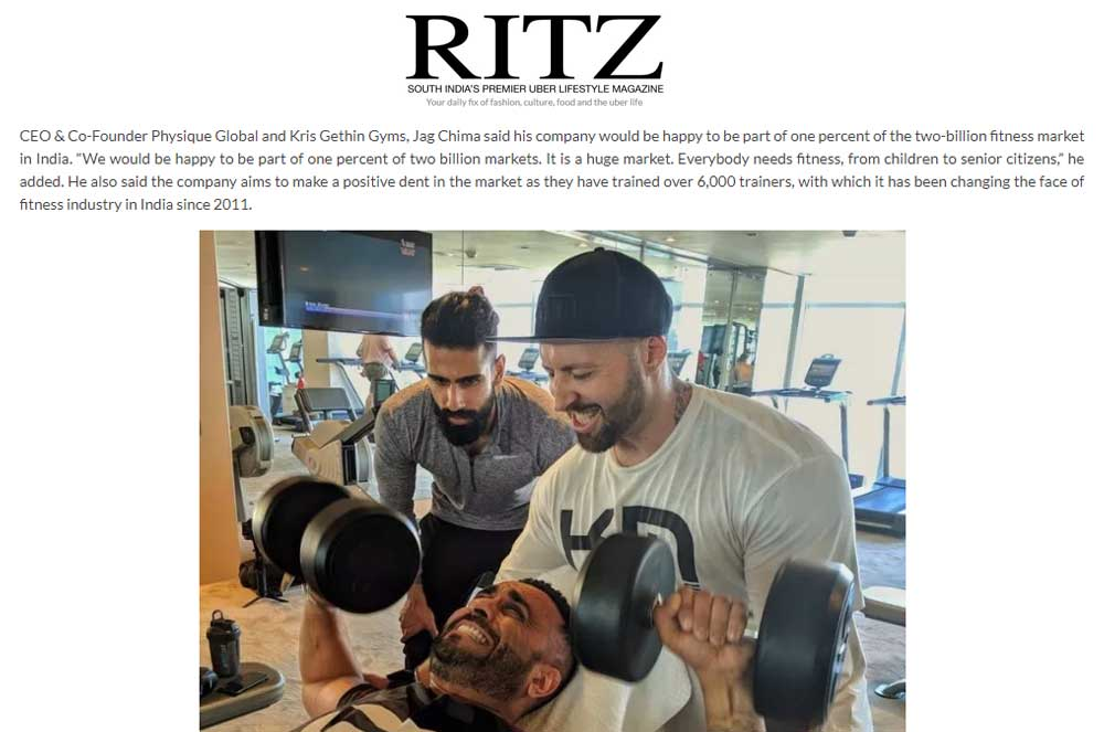 Kris Gethin Gyms to hike share in India's fitness market!